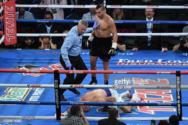 David Lemieux reacts after knocking down Gary O'Sullivan in the first round during their middleweight bout at TMobile Arena on September 15 2018 in...