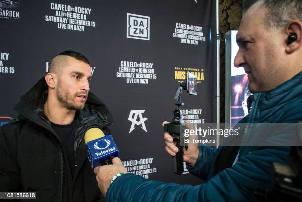 David Lemieux speaks to the Press during the Canelo vs Rocky Grand Arrival/Welcome party at Ainsworth Chelsea on December 11 2018 in New York City