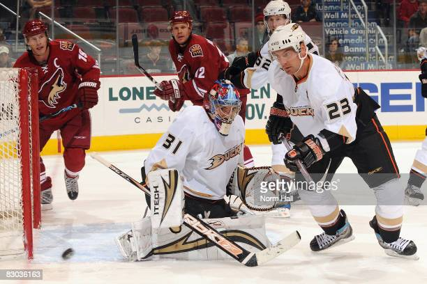 David LeNeveu of the Anaheim Ducks makes a save in front of Francois Beauchemin of the Anaheim Ducks on September 27 2008 at Jobingcom Arena in...