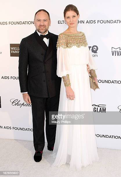 David Leppan and Alice Helm arrive at the 21st Annual Elton John AIDS Foundation Academy Awards Viewing Party at Pacific Design Center on February 24...