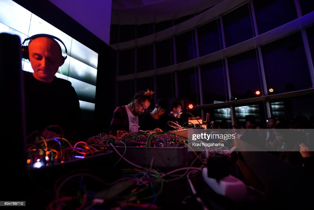 David Letellier and Taeji Sawa and Keiichiro Shibuya and Justine Emard perferm during Special Session at Roppongi Hills MAT LAB Mori Tower 52F, TOKYO CITY VIEW on February 11, 2017 in Tokyo, Japan. Keiichiro Shibuya confirmed his appearance at the last minute. Together with David Letellier who has released several pieces from Raster-Noton as Kangding Ray and Taeji Sawai (a.k.a. portable[k]ommunity), he will give his electric performance.You will also be electrified with the video created by the video artist Justine Emard who has done a lot of collaboration in Shibuya and Paris. And ZAK will be you PA just for this performance. You can witness this special session only in this event. *This project is a part of the survey on the basic policy of 2020 Olympic/Paralympic Game as per the consignment by Secretariat of the Headquarters for Tokyo 2020 Olympic and Paralympic Games.