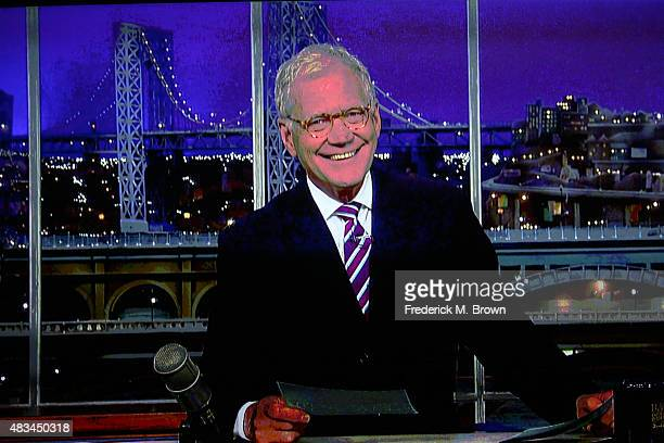 David Letterman accepts the TCA Heritage Award for the 'Late Show with David Letterman' via video during the 31st annual Television Critics...