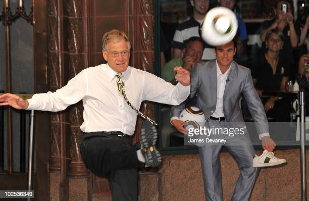 David Letterman and Landon Donovan film outside Ed Sullivan Theater for Late Show With David Letterman on June 29 2010 in New York City