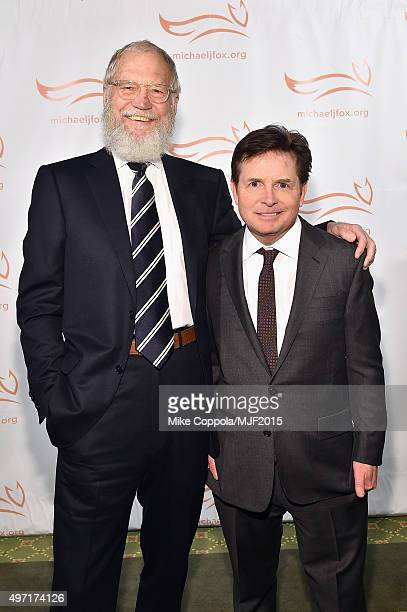 """David Letterman and Michael J Fox attend the Michael J Fox Foundation """"A Funny Thing Happened On The Way To Cure Parkinson's"""" Gala at The..."""
