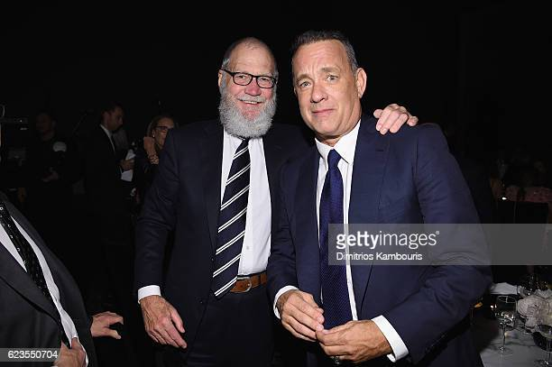 David Letterman and Tom Hanks attend the MoMA Film Benefit presented by CHANEL A Tribute To Tom Hanks at MOMA on November 15 2016 in New York City