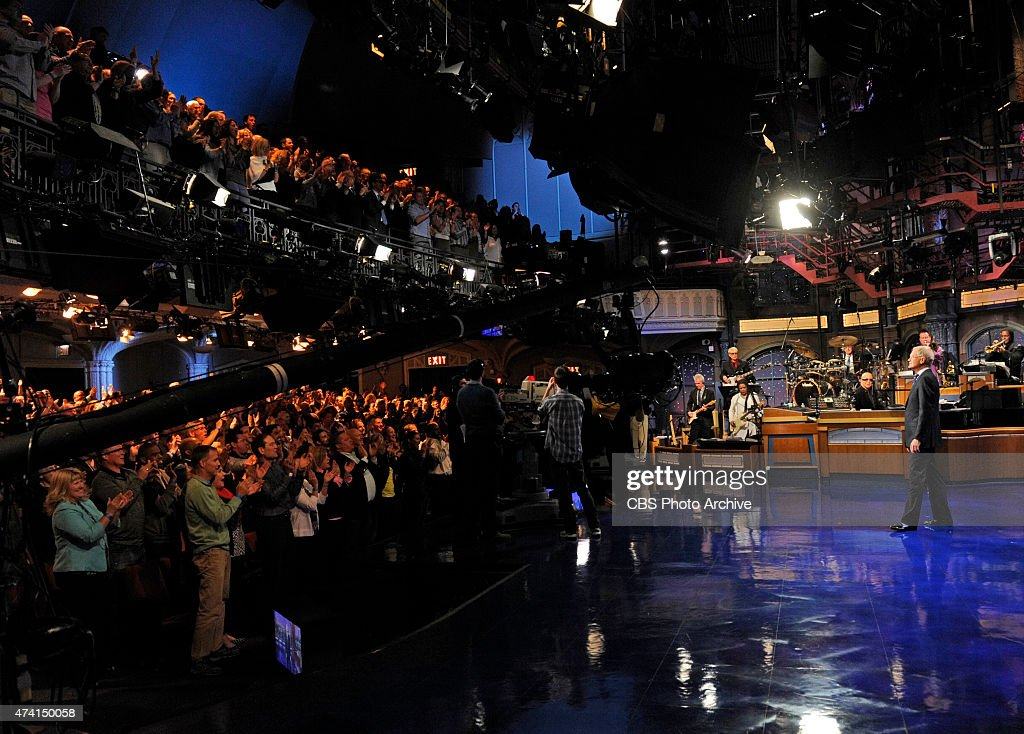 David Letterman gets a standing ovation from the audience when he hosts his final broadcast of the Late Show with David Letterman, Wednesday May 20, 2015 on the CBS Television Network. After 33 years in late night television, 6,028 broadcasts, nearly 20,000 total guest appearances, 16 Emmy Awards and more than 4,600 career Top Ten Lists, David Letterman says goodbye to late night television audiences. The show was taped Wednesday at the Ed Sullivan Theater in New York.