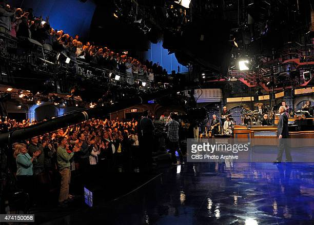David Letterman gets a standing ovation from the audience when he hosts his final broadcast of the Late Show with David Letterman Wednesday May 20...