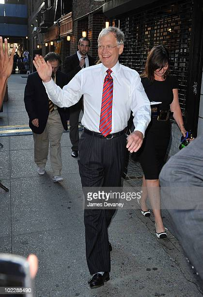 David Letterman greets fans outside 'Late Show With David Letterman' at the Ed Sullivan Theater on June 21 2010 in New York City