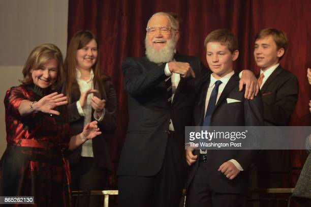David Letterman his wife Regina left and son Harry at theKennedy Center Concert Hall salute David Letterman recipient of the 20th annual Mark Twain...