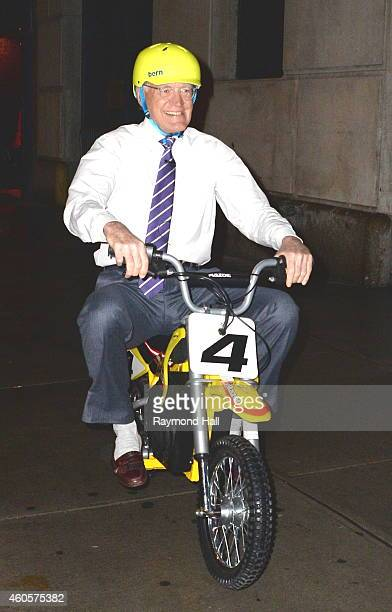 David Letterman is seen on a motorcycle outside the Ed Sullivan Theater on December 16 2014 in New York City