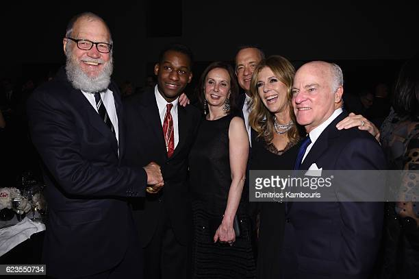 David Letterman Leon Bridges Marie Josee Kravis Tom Hanks Rita Wilson and Henry R Kravis attend the MoMA Film Benefit presented by CHANEL A Tribute...