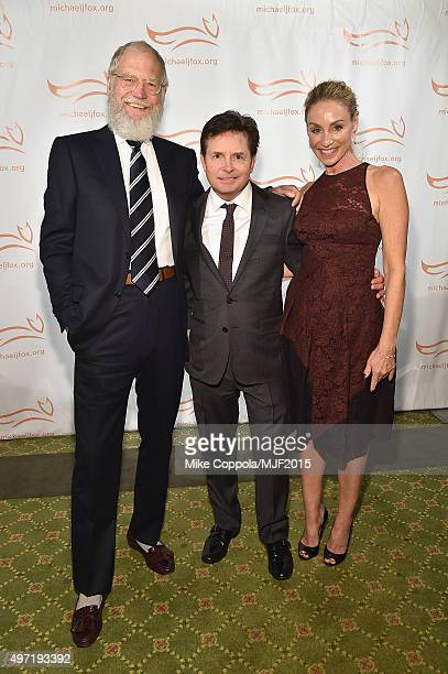 "David Letterman Michael J Fox and Tracy Pollan attend the Michael J Fox Foundation ""A Funny Thing Happened On The Way To Cure Parkinson's"" Gala at..."