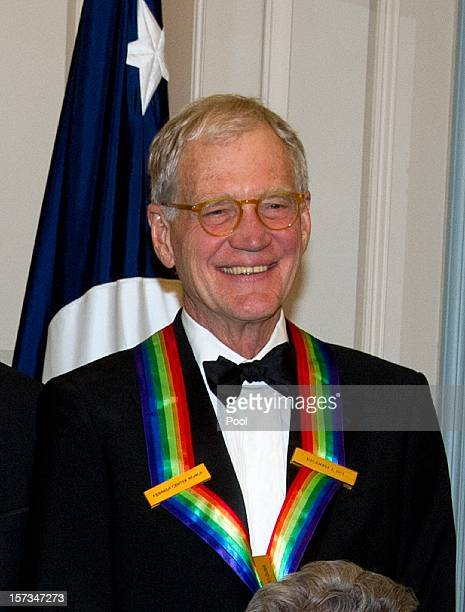 David Letterman recipient of the 2012 Kennedy Center Honors poses for a photograph following a dinner for Kennedy honorees hosted by US Secretary of...