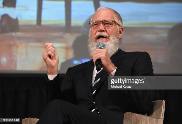 David Letterman speaks onstage as The Streicker Center hosts a Special Evening with Former First Lady Michelle Obama at The Streicker Center on...