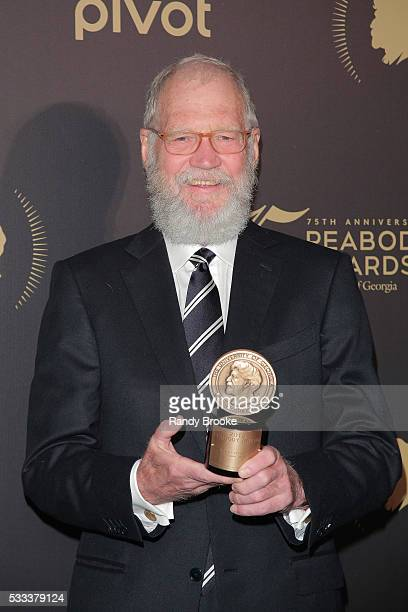 David Letterman with his 2015 Peabody award after the 75th Annual Peabody Awards Ceremony at Cipriani Wall Street on May 21 2016 in New York City