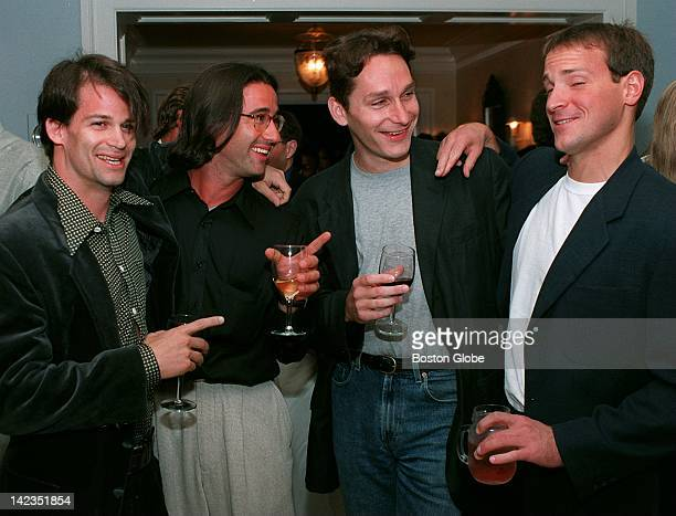 David Levine of Somerville Andy Levine of Somerville Steve Sherman of Cambridge and Michael Matule of Cambridge attend the Mass Media Alliance party...