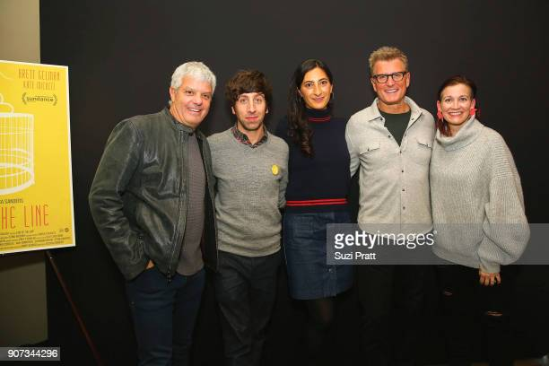 David Levy Simon Helberg Jessica Sanders Kevin Riley and Amy Emmerich pose for a photo at Refinery29 and TNT Shatterbox Anthology Season 2 Sundance...