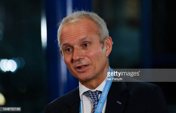 David Lidington Minister for the Cabinet Office speaks to the media on the final day of the Conservative Party Conference at the International...
