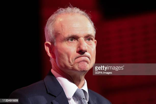 David Lidington MP Minister for the Cabinet Office and Chancellor of the Duchy of Lancaster is seen speaking during the Annual Conference British...
