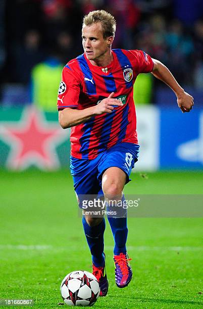 David Limbersky of Plzen in action during the UEFA Champions League match between FC Viktoria Plzen and Manchester City on September 17, 2013 in...