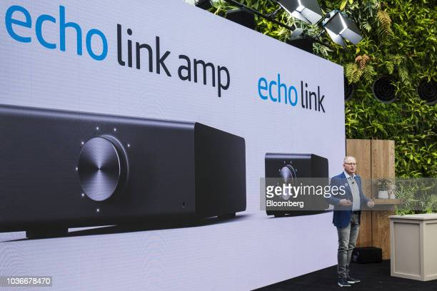 David Limp senior vice president of devices and services at Amazoncom Inc presents the Amazon Echo Link Amp music streaming device and amplifier...