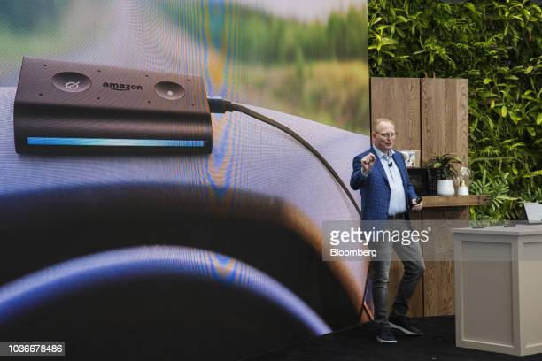 David Limp senior vice president of devices and services at Amazoncom Inc presents the Amazon Echo Auto smart device during an unveiling event at the...