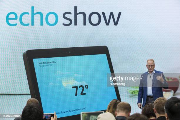 David Limp senior vice president of devices and services at Amazoncom Inc presents the Amazon Echo Show smart speaker and screen during an unveiling...