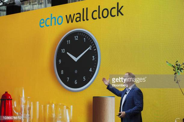 David Limp senior vice president of devices and services at Amazoncom Inc presents the Amazon Echo Wall Clock during an unveiling event at the...