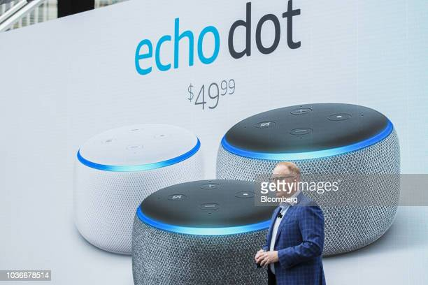 David Limp senior vice president of devices and services at Amazoncom Inc presents the Amazon Echo Dot smart speaker during an unveiling event at the...