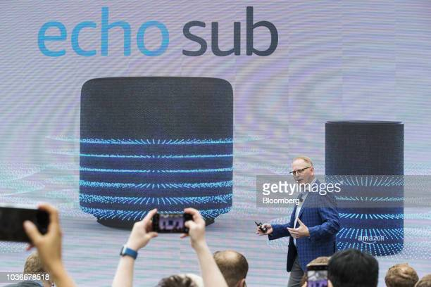 David Limp senior vice president of devices and services at Amazoncom Inc presents the Amazon Echo Sub subwoofer during an unveiling event at the...