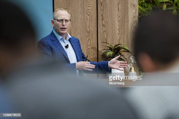 David Limp senior vice president of devices and services at Amazoncom Inc speaks during an unveiling event at the company's Spheres headquarters in...