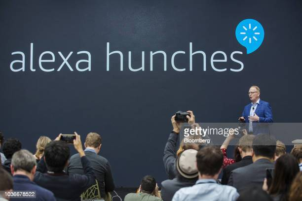 David Limp senior vice president of devices and services at Amazoncom Inc speaks about the Alexa Hunches software during an unveiling event at the...