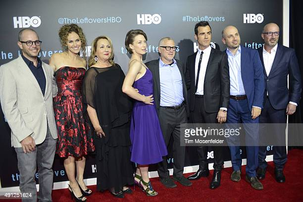 David Lindelof Amy Brenneman Mimi Leder Carrie Coon Tom Perrotta Justin Theroux and Tom Spezialy attend HBO's The Leftovers Season 2 Premiere during...