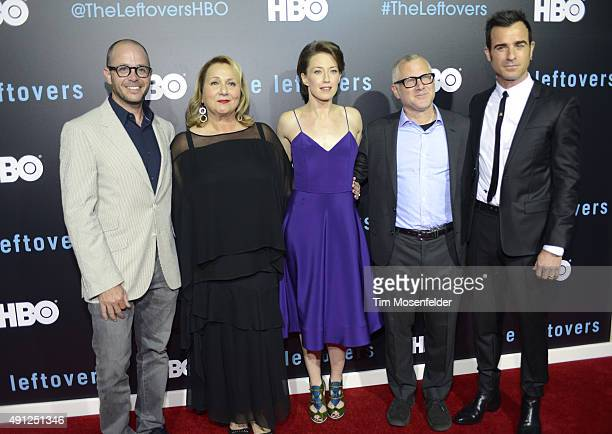 David Lindelof Mimi Leder Carrie Coon Tom Perrotta and Justin Theroux attend HBO's The Leftovers Season 2 Premiere during The ATX Television Festival...