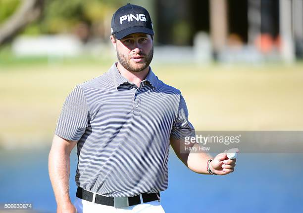 David Lingmerth of Sweden acknowledges the gallery after making par on the ninth hole during the final round of the CareerBuilder Challenge In...