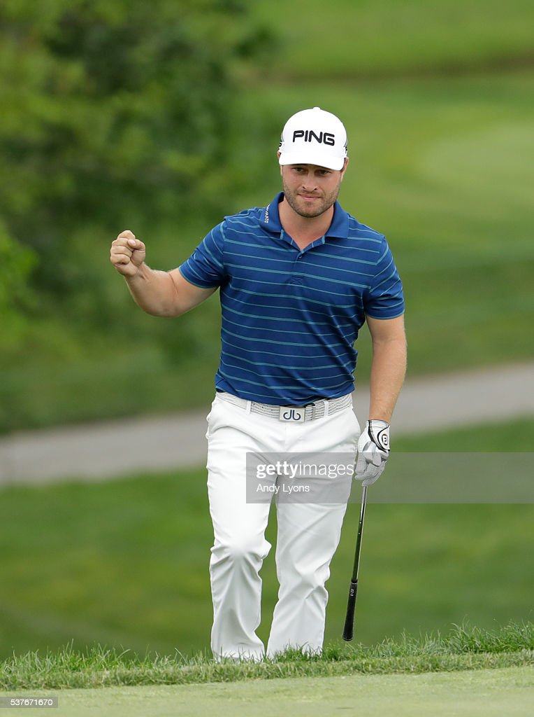 David Lingmerth of Sweden chips in for birdie on the 18th hole during the first round of The Memorial Tournament at Muirfield Village Golf Club on June 2, 2016 in Dublin, Ohio.