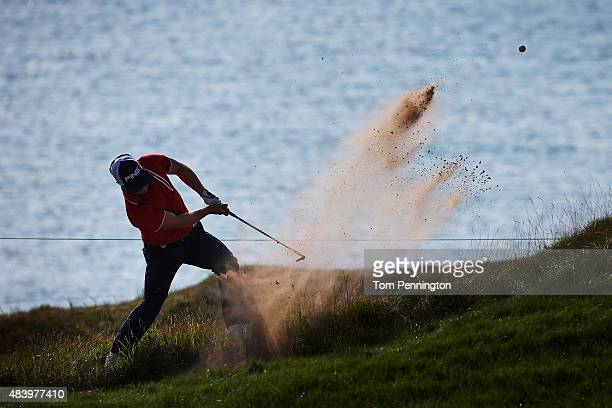 David Lingmerth of Sweden hits a bunker shot on the second hole during the second round of the 2015 PGA Championship at Whistling Straits on August...