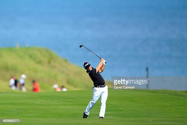 David Lingmerth of Sweden hits a shot on the 18th hole during the first round of the 2015 PGA Championship at Whistling Straits on August 13 2015 in...