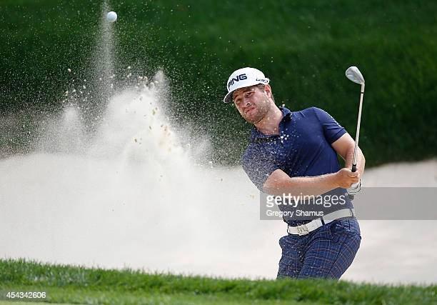 David Lingmerth of Sweden hits from a green side sand trap on the seventh hole during the second round of the Webcom Tour Hotel Fitness Championship...
