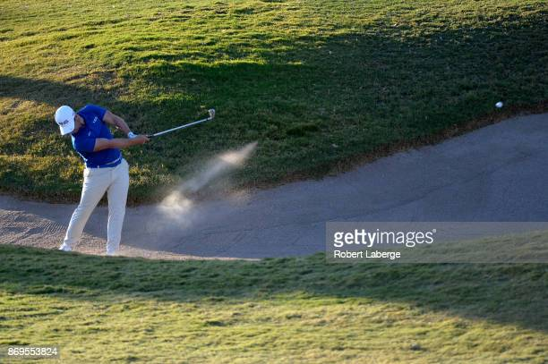 David Lingmerth of Sweden hits his approach shot on the 12th hole during the first round of the Shriners Hospitals For Children Open at TPC Summerlin...