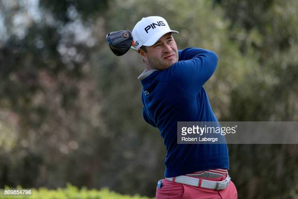David Lingmerth of Sweden hits his tee shot on the 16th hole during the second round of the Shriners Hospitals For Children Open at the TPC Summerlin...