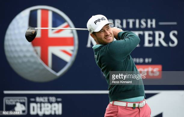 David Lingmerth of Sweden hits his tee shot on the 1st hole during day four of the British Masters at Close House Golf Club on October 1 2017 in...