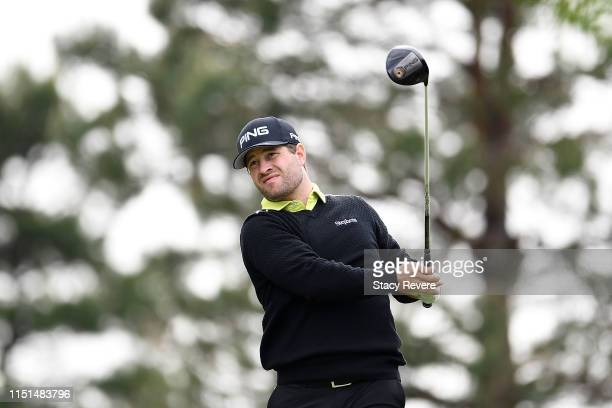 David Lingmerth of Sweden hits his tee shot on the second hole during the second round of the Evans Scholar Invitational at the Glen Club on May 24,...
