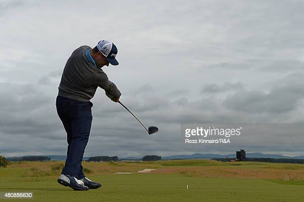 David Lingmerth of Sweden hits his tee shot on the seventh hole during the first round of the 144th Open Championship at The Old Course on July 16...