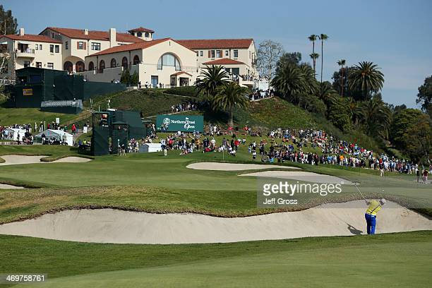 David Lingmerth of Sweden hits out of a bunker on the 9th hole in the final round of the Northern Trust Open at the Riviera Country Club on February...