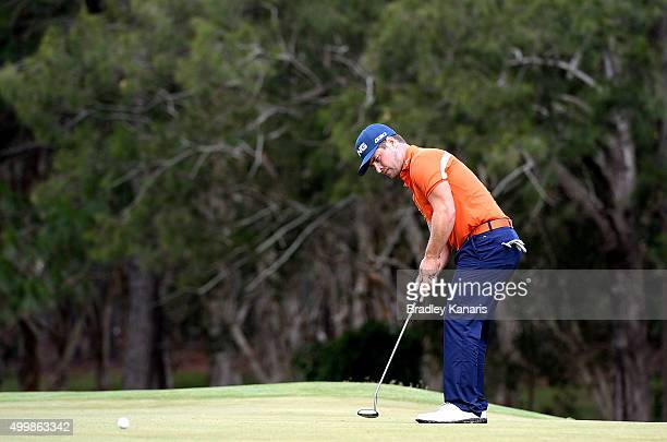 David Lingmerth of Sweden lines up a putt on the 14th hole during day two of the 2015 Australian PGA Championship at Royal Pines Resort on December 4...