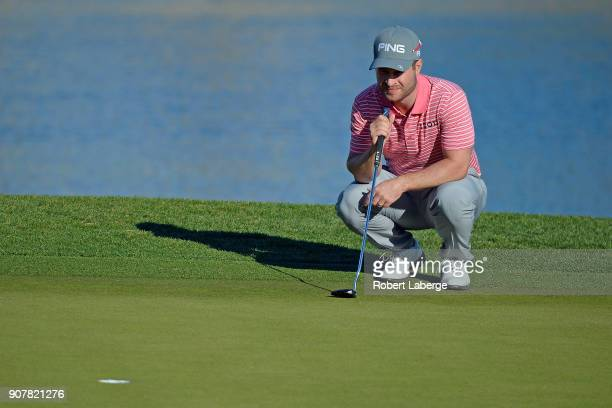 David Lingmerth of Sweden lines up a putt on the 18th green during the third round of the CareerBuilder Challenge at the Jack Nicklaus Tournament...