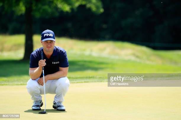 David Lingmerth of Sweden lines up a putt on the first green during the final round of the Quicken Loans National on July 2 2017 TPC Potomac in...
