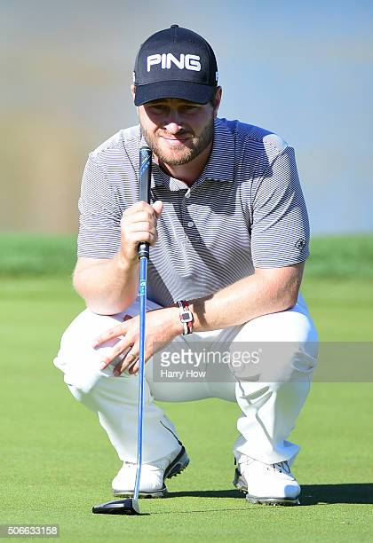 David Lingmerth of Sweden lines up a putt on the ninth green during the final round of the CareerBuilder Challenge In Partnership With The Clinton...