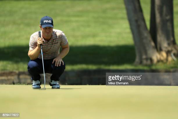 David Lingmerth of Sweden lines up a putt on the seventh hole during the first round of the 2017 PGA Championship at Quail Hollow Club on August 10...